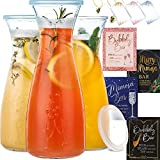 PRESTIGE Mimosa Bar Kit - 3 Glass Carafe with Lids 27oz & Brunch Decor, Mimosa Pitcher w/ Plastic Carafe Lid, Bubbly Juice Carafes for Mimosa Bar Supplies, Baby Bridal Shower Decorations (Mimosa Set)
