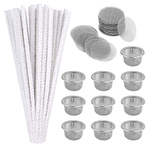 ASTARON 110Pcs Pipe Screens and Pipe Cleaners Set Includes 50Pcs Hard Bristle Pipe Cleaners and 60 Pcs Stainless Steel Pipe Filter Screens for Glass Pipes