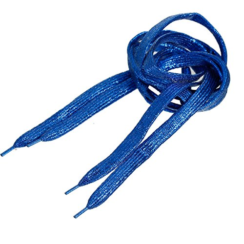 SiAura Material - 2 Streifen geflochtene glitzernde Schnürsenkel, saphirblau, 108cm lang