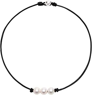 HAPPINESS-STORE Fashion White Freshwater Pearls Choker Necklace on Leather Knotted Necklace Handmade Jewelry