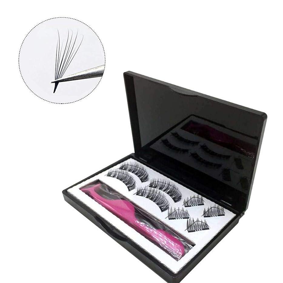 スキップ大胆なプレミアムSILUN 黒い色8PCS 3D磁気つけまつげ 二重磁気まつげ 純粋 手仕事 ビューティー まつげエクステ扩展 レディース 化粧ツール アイメイクアップ 人気 ナチュラル 柔らかい 濃密 装着簡単