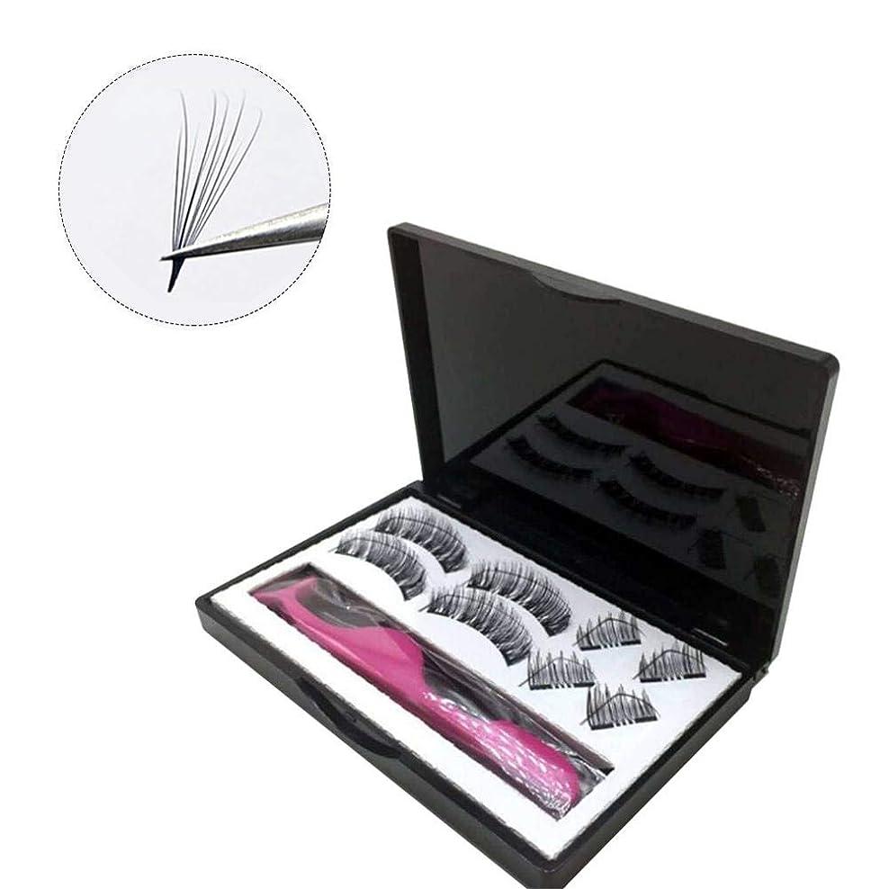 ぶら下がる創造更新するSILUN 黒い色8PCS 3D磁気つけまつげ 二重磁気まつげ 純粋 手仕事 ビューティー まつげエクステ扩展 レディース 化粧ツール アイメイクアップ 人気 ナチュラル 柔らかい 濃密 装着簡単