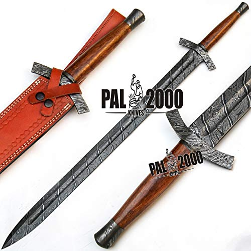 PAL 2000 KNIVES 9562 Custom Handmade Damascus Steel Hunting Sword Total Length 35 inches Amazing Art...