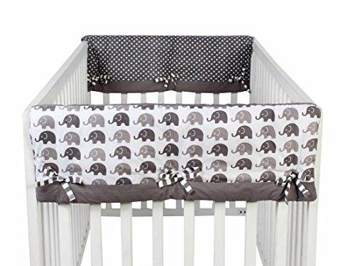 Bacati Elephants Unisex 2 Piece Crib Rail Guard Cover Sides for US Standard Cribs, Grey