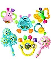 7 st baby skallra nyfödda leksaker musikalisk baby sensoriska leksaker tidig pedagogisk leksak för 3 6 9 12 månader pojkar flickor