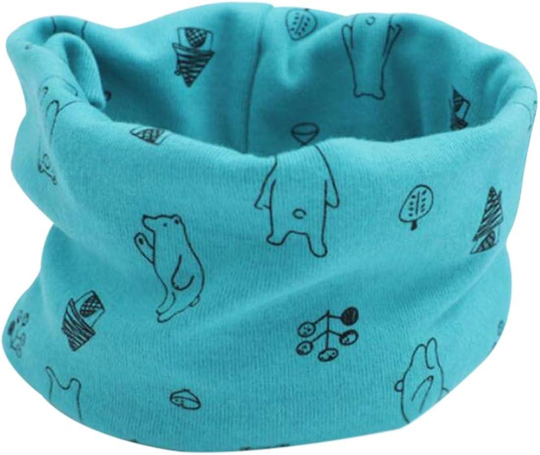 DEBAIJIA Baby Scarves Kids Infant Neckerchief Boys Girls Cotton Multi-use Collar Warmer Cute Windproof Soft Printing Pattern Knitting Scarf Hat Bandana Drool Bibs 3Pcs for 0-8 Years
