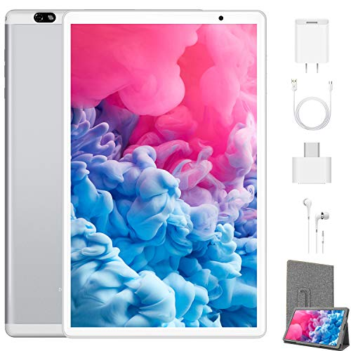 Tablet 10.1 Pollici 4G Android 10.0 Quad Core DUODUOGO G20 Tablet 4GB RAM 64GB ROM/Fino a 128GB WIFI Tablet PC Offerte 8000mAh Assistente vocale di Google GMS Doppia Fotocamera/SIM Netfilx (Argento)