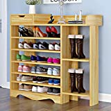Suninhome 1 Shoes Shelf, Shoes Rack Storage Shoes Organizer 7 Tiers Multi-Functional Free Standing DIY Shoes Cabinet Holds 20-26 Pairs of Shoes for Entrance Living Room (Wood)