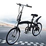 Bicicleta Plegable City para niños, niños, niñas, Bicicleta de Estilo Libre, Palanca de Cambios de 7 velocidades, 20 Pulgadas con Pata de Cabra Bicicleta para niños, Freno en V Doble con Negro