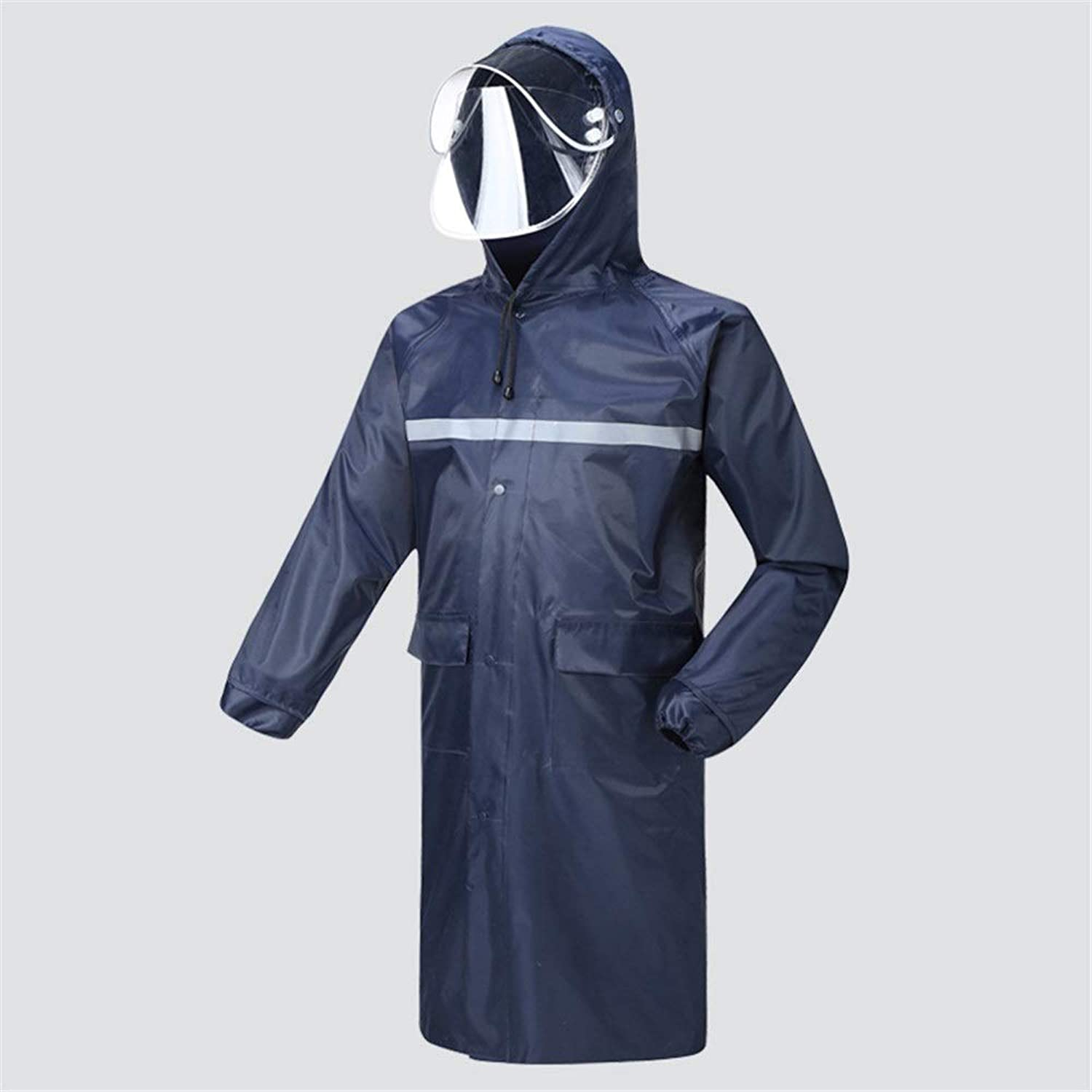 LJGG Raincoat Long Section Raincoat Waterproof Male Female Adult Hiking Breathable Poncho (color   Navy, Size   XL)