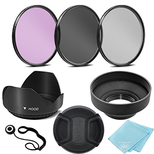 3 Piece Filter Kit (UV-CPL-FLD) + Tulip Lens Hood + Soft Rubber Hood + Lens Cap + for Select Canon, Nikon, Sony, Olympus, Panasonic, Fuji, Sigma SLR Lenses, Cameras and Camcorders (52MM)