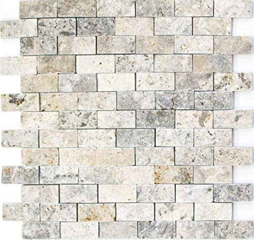 Mosaico de azulejos travertino piedra natural blanco gris ladrillo Splitface plata travertino 3D MOS43-47248