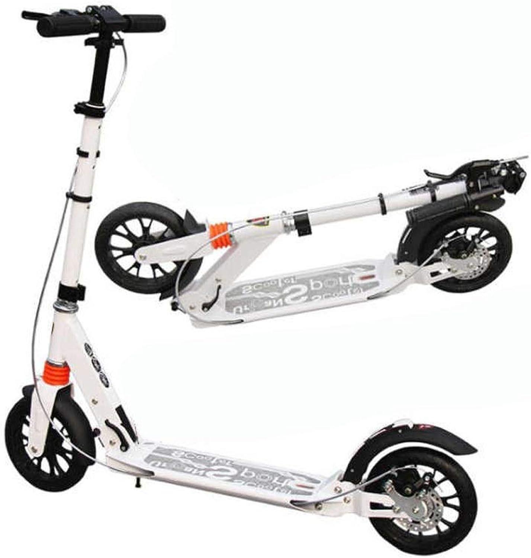 Adult Kick Scooters,2 Big Wheels Foldable Commuter Aluminum Alloy Double Shock Disc Brake Women Men Teens Kids Up to 100kg ( color   White )