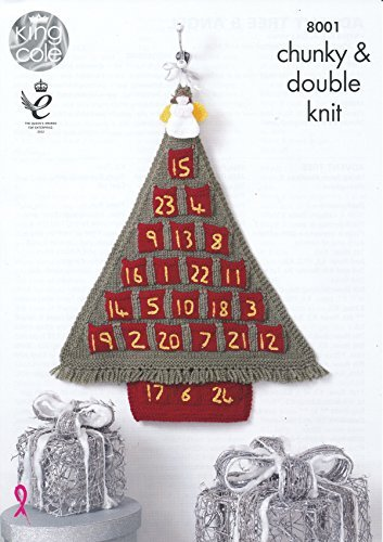 King Cole Christmas Accessories Chunky & DK Knitting Pattern Advent Calendar Tree & Angels (8001)