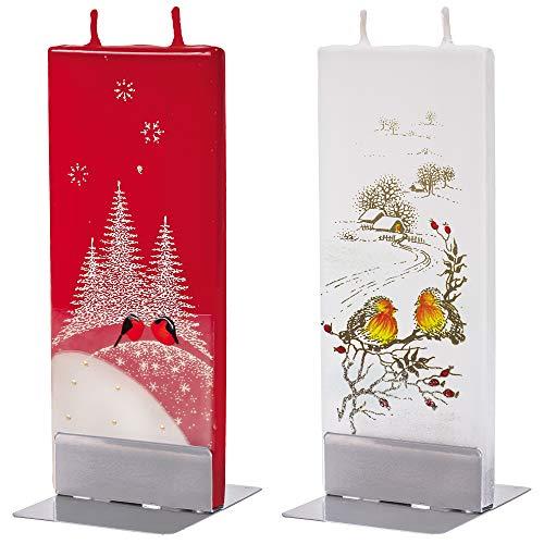 flatyz Velas decorativas – velas especiales para regalar – velas hechas a mano – velas planas decorativas – larga duración de combustión 3 – 4 horas 60 x 10 x 150 mm – Juego de 2 pares de 2 pájaros