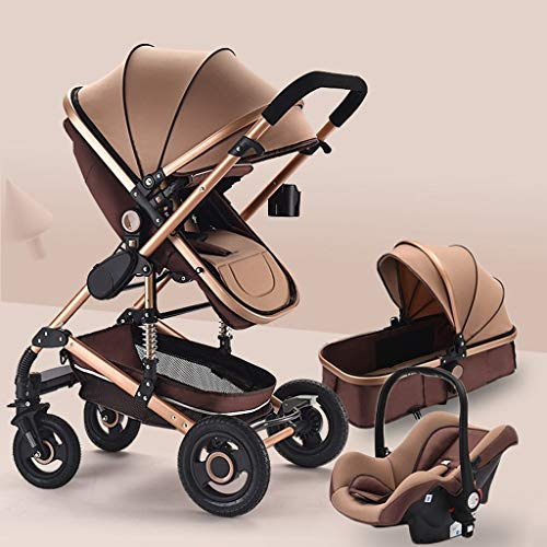Buy TXTC 3 in 1 Stroller Carriage Foldable Luxury Baby Stroller Anti-Shock Springs High View Pram Ba...