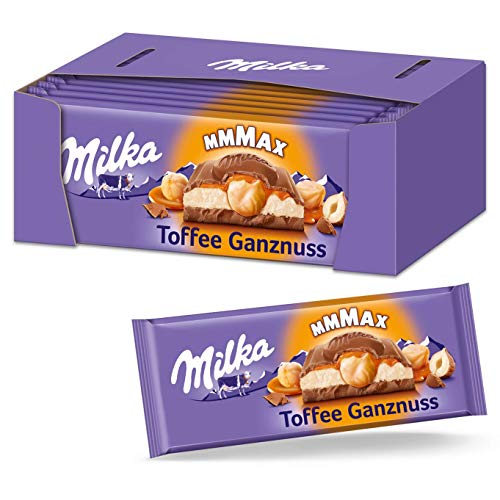 Milka Toffee Ganznuss 12 x 300g Großtafel, Zartschmelzende Schokoladentafel mit cremigem Karamel und ganze Haselnüsse