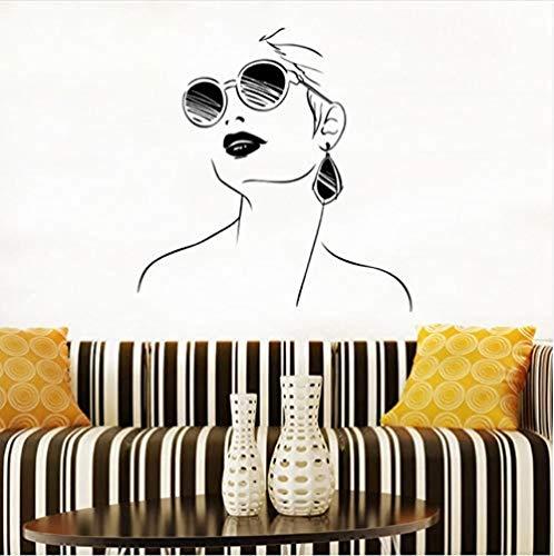 Pegatinas de pared 57X59 cm Calcomanía de pared Mujer con gafas Calcomanías de pared Diseño moderno Interior Salón Puerta Ventana Vinilo Pegatinas de pared Chicas Cara Arte