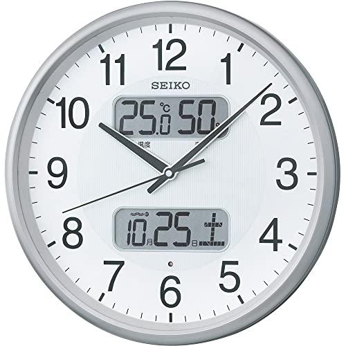 セイコークロック 掛け時計 銀色メタリック 直径35.0x5.2cm 電波 アナログ カレンダー 温度 湿度 表示 KX383S