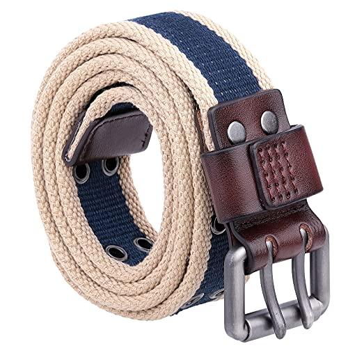Samtree Vintage Canvas Double Grommet Belt for Men Women, Unisex Striped Casual Square Buckle 2 Hole Web Belt for Jeans, Navy Blue+Khaki
