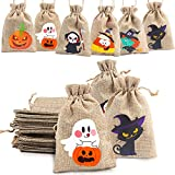 DERAYEE 36Pcs Halloween Burlap Treat Bags, Gift Candy Bags Goodie Bag with Drawstrings for trick or...