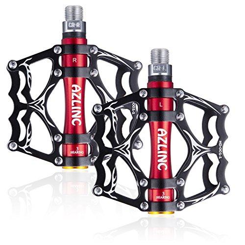 Azlinc MTB Pedal Fahrradpedale, Aluminium Rutschfest BMX Mountainbike Rennrad Pedale 9/16'' Fahrrad Pedalen mit 3 Abgedichtete Lager