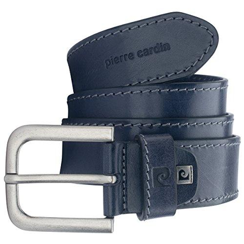 Pierre Cardin Cinturón de piel de vacuno para hombre, 40 mm de ancho, acortable, cinturón de piel, cinturón vaquero, azul marino azul marino 105 cm