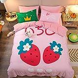 Bedding-LZ Bohemian Bettwäsche 135x200 cm,Baumwolle Plus Samt Flanell Cartoon Bett vierteiliges Set Einzel Doppelbett Einzel Bettbezug Kissenbezug B_1,5 m Tagesdecke (4 Stück)