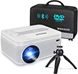 BIGASUO [2021 Upgrade] Bluetooth Full HD Projector Built in DVD Player, Portable Mini Projector 5500 Lumens Compatible with iPhone/iPad/TV/HDMI/VGA/AV/USB/TF SD Card, 720P Native 1080P Supported