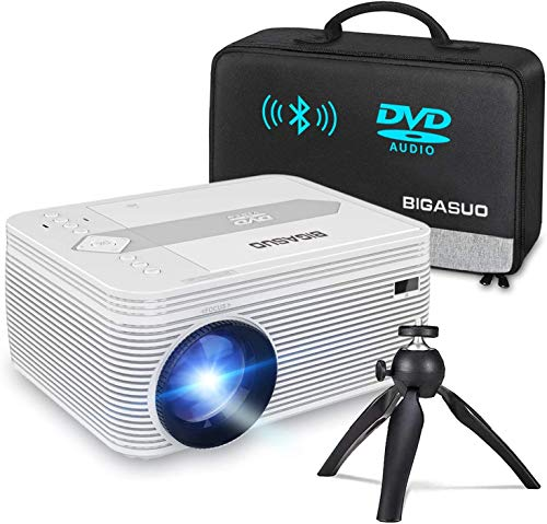 BIGASUO [2021 Upgrade] Bluetooth Full HD Projector Built in DVD Player, Portable Mini Projector 5500 Lumens Compatible with iPhone/iPad/HDMI/VGA/AV/USB/TF SD Card, 720P Native 1080P Supported
