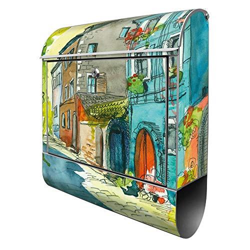 Banjado Design Briefkasten mit Motiv Historischer Stadtkern | Stahl pulverbeschichtet mit Zeitungsrolle | Größe 39x47x14cm, 2 Schlüssel, A4 Einwurf, inkl. Montagematerial