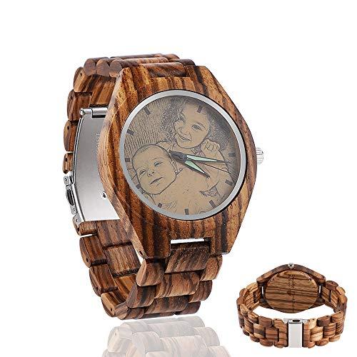 Personalisierte Hölzerne Uhren Customized Foto auf Zifferblatt und Rückseitige Gravierte Natürliche Ebenholz Angepasst Holz Uhr Geschenke Groomsmen Geschenk Jubiläumsgeschenk für Männer
