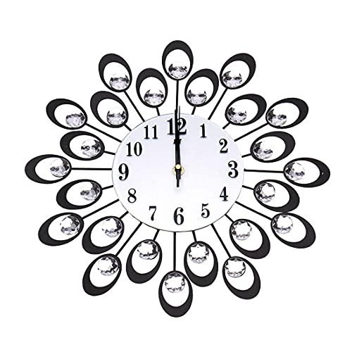 YXIAOL Reloj Pared Pavo Real, Reloj Hierro Silencioso Reloj Decorativo, Relojes Pared Modernos Forma Reloj Decoración para El Hogar para Sala Estar, Oficina, Escuela VIIPOO,Black