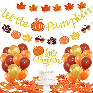 🎃UNIQUE PUMPKIN DECORATION SETS: Package contains 1 little pumpkin banner, 1 little pumpkin cake topper, 50pcs Artificial Maple Leaves, 30pcs latex balloons(orange,gold, coffee). It will save your time on shopping for other supplies. Our set fits all...