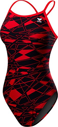TYR Women's Mantova Diamondfit Swimsuit, Red, 34