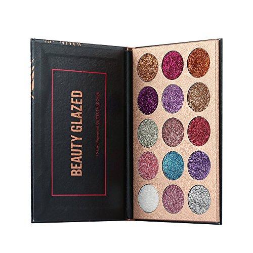 Beauty Glazed 15 Colors Glitter Eyeshadow Palette Shimmer Ultra Pigmented...