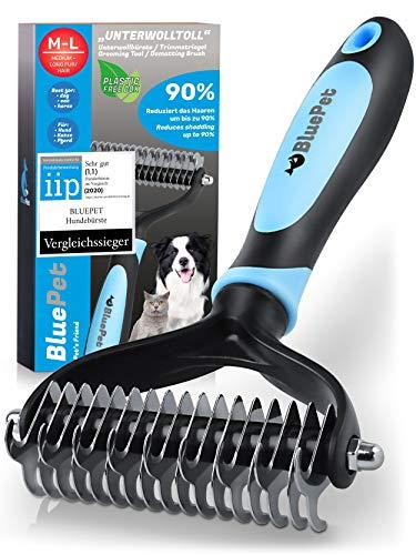 Bluepet® UnterwollToll Hundebürste & Katzenbürste für langhaar | Unterwollkamm entfernt Unterwolle & Verfilzungen | Ausdünnen & Deckhaarschutz | Fellbürste Größe M-L blau