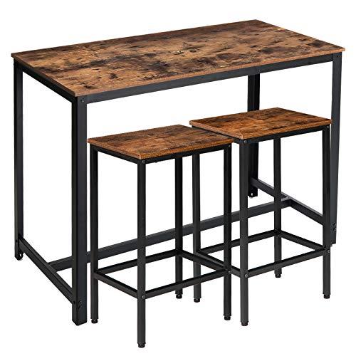 IBUYKE Bartisch-Set, Stehtisch 120 x 60 x 90 cm mit 2 Barhockern, Küchentresen mit Barstühlen, Küchentisch und Küchenstühle im Industrie-Design, für Küche, Vintage, Dunkelbraun TMJ013HH