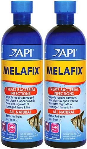 API 2 Pack of Melafix Antibacterial Fish Remedy, 16 Ounces Per Bottle