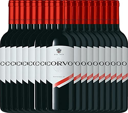 VINELLO 18er Weinpaket Rotwein - Corvo Rosso Terre Siciliane 2019 - DDS mit Weinausgießer   trockener Rotwein   italienischer Rotwein aus Sizilien   18 x 0,75 Liter