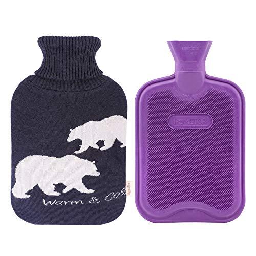 HomeTop Premium 2 Liter Classic Rubber Hot Water Bottle w/Elegant Polar Bear Knit Cover (2L, Navy Blue/Purple)