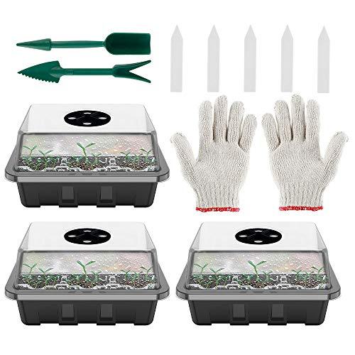 Juego de 12 agujeros de propagación de semillas con cúpulas ventiladas con 10 etiquetas para plantas y 2 herramientas de siembra, para germinación, cultivo en invernadero (3 unidades + guantes, negro)