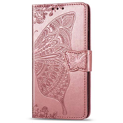 JIUNINE Hülle für Xiaomi Poco F2 Pro, Handyhülle Leder Flip Hülle mit Schmetterling Muster [Kartenfach] [Magnetverschluss] Schutzhülle Tasche Cover Lederhülle für Xiaomi Poco F2 Pro, Roségold