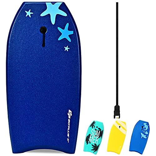 Goplus Bodyboard Grande per Praticare Il Surfing in Oceano, Tavola da Nuoto 105x51x6 cm (Blu Scuro)