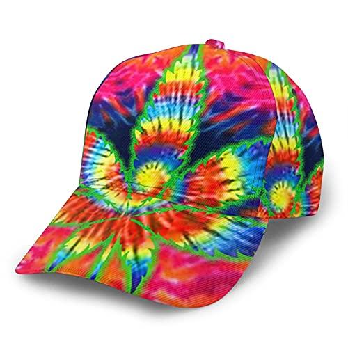 HARLEY BURTON Unisex Gorra de béisbol impresa entera psicodélico teñido marihuana ajustable empalme Hip Hop Cap sombrero de sol negro