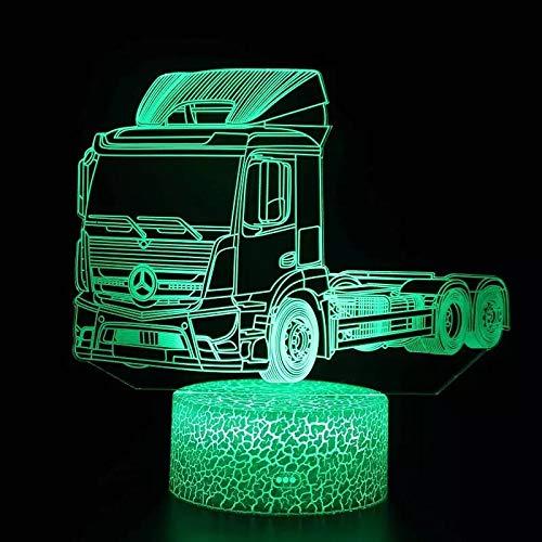 Lámpara de mesa de acrílico multicolor 3D con luz de noche con base agrietada moderna para camión