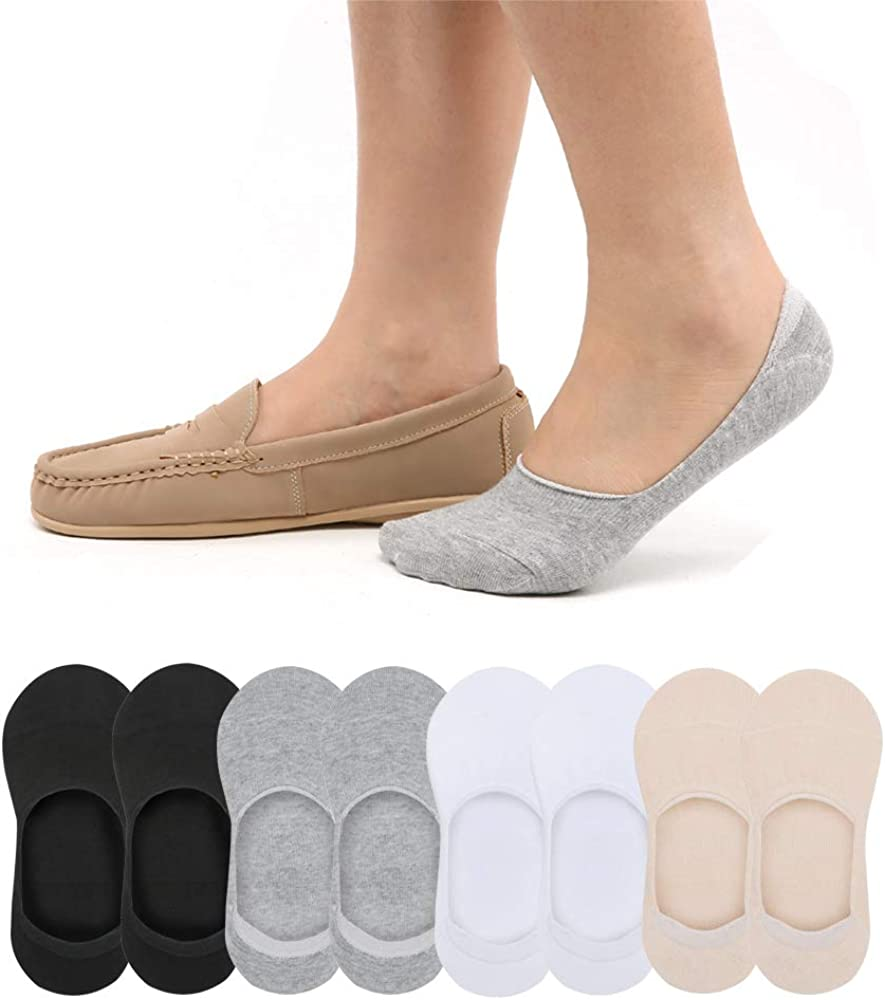 Women and Men 3-8 Pairs Thick Cushion Cotton No Show Socks Low Cut Non Slip Flats Loafer Boat
