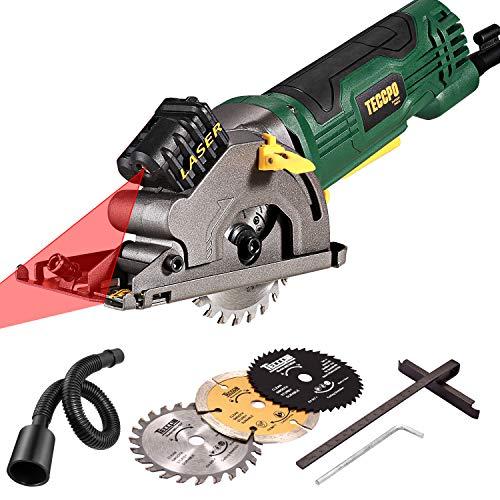 Mini Scie Circulaire TECCPO 580W, Guide de Laser, 3 Lames, Profondeur de Coupe:...