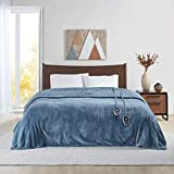 Beautyrest Microlight to Sherpa Reversible Electric Blanket Throw, Adjustable Multi-Level Heat Setting Controller Cozy Living Room Couch, Sofa, Bed, King, Blue