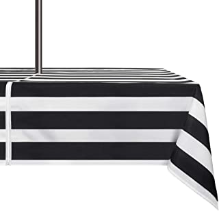 VCVCOO 60×84 Inch Outdoor Tablecloth Waterproof Anti-Stain, Black and White Striped Polyester Tablecloths with Zipper Umbrella Hole for Restaurant